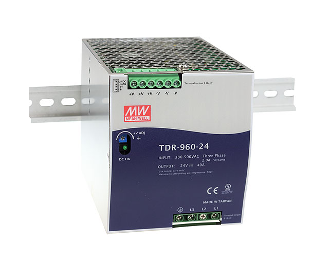 slimline 3 phase DIN rail power supply