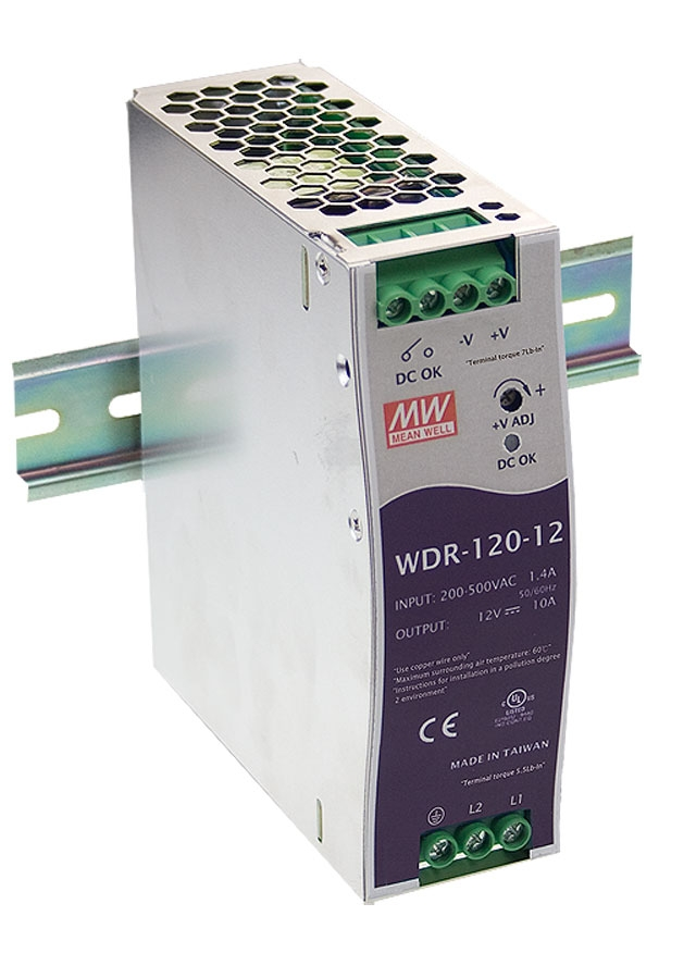 DIN rail power supply with wide input range