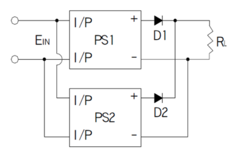 Two power supplies connected to load in series through diode